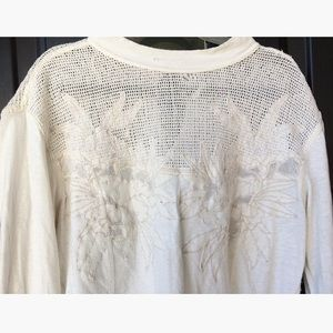 Free People Tops - Free People Off-White Floral Knit Tunic